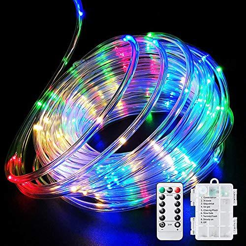 Porcyco Cadena de luces de alambre de cobre de 50 LED, 8 modos, cadena de luces LED con mando a distancia para Navidad, vacaciones, día de San Valentín, boda, fiesta, decoración, multicolor