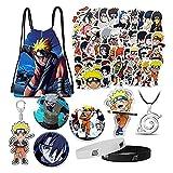 Naruto Sac avec autocollant pour téléphone portable, collier, bracelet, masque, taie d'oreiller - - taille unique