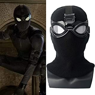 Spider-Man Far From Home Stealth Suit Hood and Goggles スパイダーマン:ファー?フロム?ホーム ステルス スーツ コスプレ マスク フード 頭巾 ゴーグル ハロウィン コスチューム ヘルメット 被り物 スパイダーマン 大人用 子供の 弾性 フッド ヘッドギア (黒)