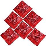 QUMAO Pañuelos Bandanas de Modelo de Paisley para Cuello/Cabeza Multicolor Múltiple para Mujer y Hombre (Pack de 6; Rojo)