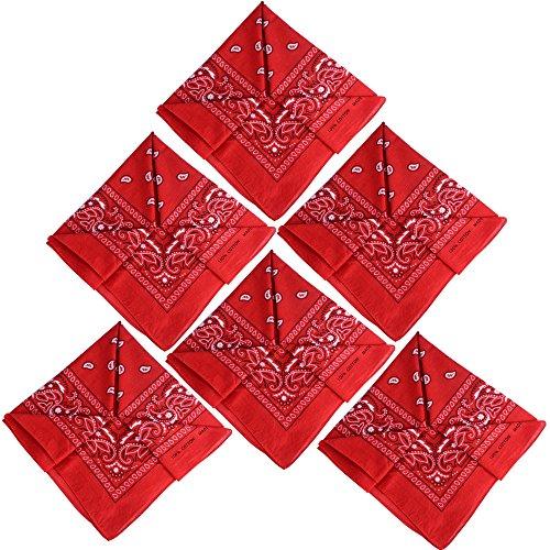 QUMAO (100% Baumwolle) 3stk, 4stk, 6 stk Paisley Bandana Halstuch 55 x 55 cm Kopftuch Armtuch Mischfarben Haar, Hals, Kopf Schal Nickituch Vierecktuch (6 Rot, 6 Stück)