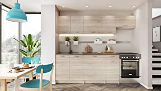 Muebles de Cocina Completa, 240 cms, Color Madera, Modulos