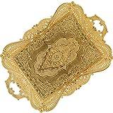 XJLJ Vassoio PortaoggettiVassoio da Portata per Bevande Marocchino Decorativo in Oro per tè E caffè per Bar All'aperto Casa RusticaDressing Table TraySimple