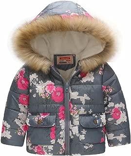 EGELEXY Kids Snowsuit Toddler Girl Winter Coat Fleece Lining Fur Hooded Thickened Jacket