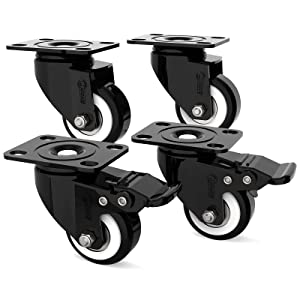Swivel Plate Caster Set of 4, 2'' Industrial Heavy-Duty Wheels with Safety Dual Locking, Furniture Casters for Workbench, Flight Cases, 600lbs Load Capacity, RTCOOC002