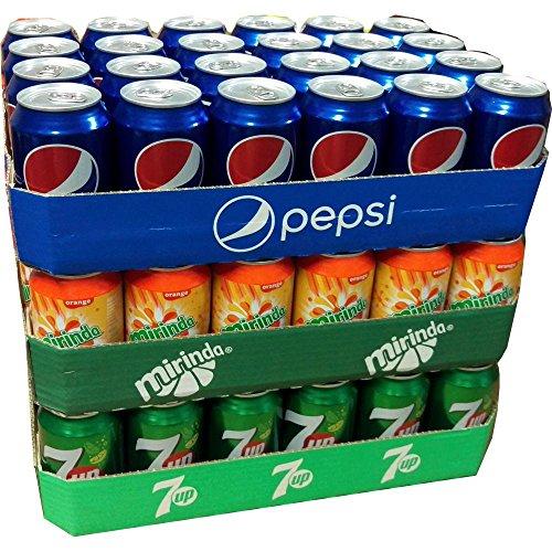 Pepsi Cola, Mirinda Orange & Seven Up je 24 x 0,33l Dose XXL-Paket (72 Dosen gesamt)