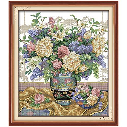Handmalerei Oriental Vase Kreuzstich 11CT Blumen 14ct Kreuzstich-Stickerei setzt Kits Needlework Handgemachte Kreuzstich (Cross Stitch Fabric CT number : 11CT picture printed)