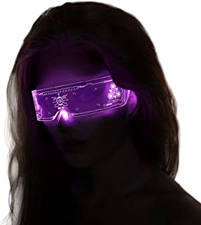 Led Light Up Glasses for Adult with Rechargeable 11 Modes Color Change and Flash Luminous Glasses Perfect for Parties, Mar...