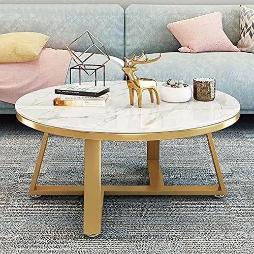 SWTOM Mesa Auxiliar para sofá, Muebles de diseño, Mesa de Centro para Sala de Estar, Blanco/Dorado, 70 x 70 x 45 cm