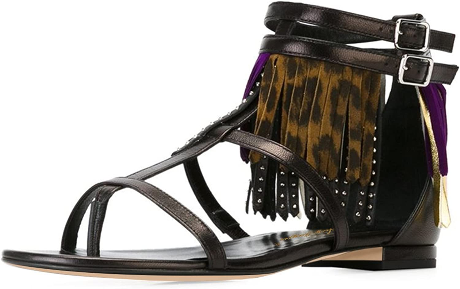NJ Womens Open Toe Gladiator Thong Sandals T-Strap Flip Flops Tassels Flats shoes with Studded