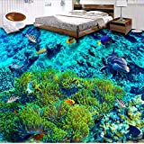 Papel tapiz para el acuario marino Moderno decoración de habitación Mediterráneo Paisaje submarino Dolphin Coral Papel de pared personalizado para baño-450X300CM