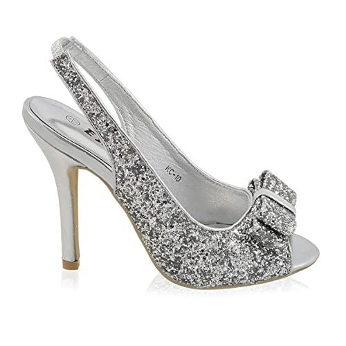 f8ebf14657 ESSEX GLAM Womens Stiletto HIGH Heel Sparkly Ladies Slingback Bridal Prom  Sandals Shoes
