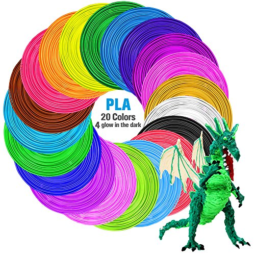 Tecboss 3D Pen/3D Printer Filament, 1.75mm PLA Filament Pack of 20 Different Colors,High-Precision Diameter Filament, Each Color 16 Feet, Total 320 Feet Lengths, Bonus 4 Glow in The Dark