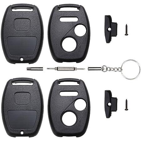 Pack of 2 NO CUT Key Fob Case Shell for Honda Accord Civic CR-V CR-Z Fit Insight Odyssey Pilot Ridgeline