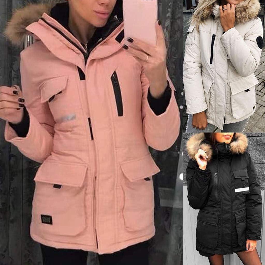 NRUTUP Winter Down Jacket Womens Parka Faux Fur Hooded Windbreaker Ladies Long Warm Thick Padded Outdoor Coat Outwear