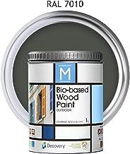 Pintura para Madera | Bio-based Wood Paint RAL 7010 | 1 L | para todo tipo de madera | Pintura madera exterior con un aspecto de acabado semi mate cálido y sedoso | Color Gris