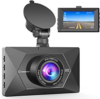 【Upgraded】 Crosstour Dash Cam 1080P FHD Mini in Car Dashboard Camera with Park Mode, G Sensor, F1.8 Super Big Aperture, 3 Inch LCD, 170°Wide Angle, WDR, Motion Detection, Loop Recording