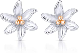 BLING BIJOUX Rose Gold Pollen Tiger Lily Flower Earrings Never Rust 925 Sterling Silver Natural and Hypoallergenic Studs F...