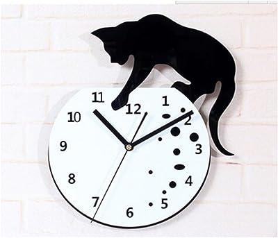 Cat climbing on the Clock Wall Clock Fashionable Creative Small Cat Wall Clock Art Simple Quartz
