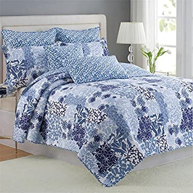 100% Cotton 3-Piece Patchwork Bedspread Quilt Sets Fit Queen King Size Bed