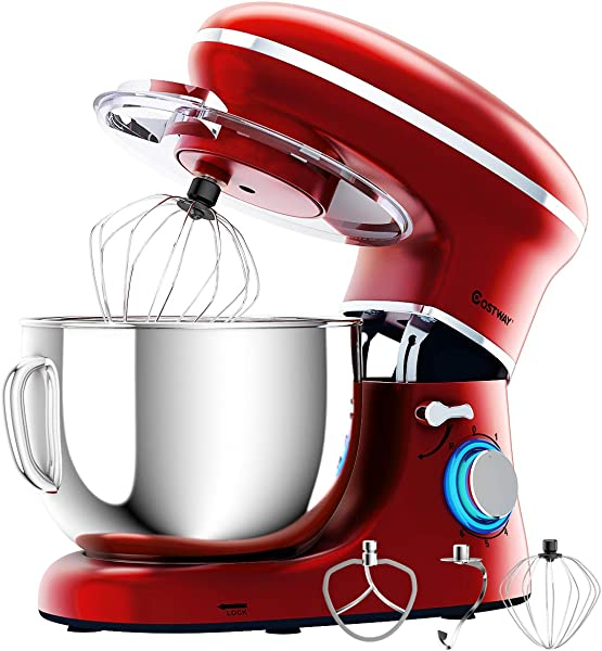 COSTWAY Stand Mixer 660W Electric Kitchen Food Mixer With 6 Speed Control 6 3 Quart Stainless Steel Bowl Dough Hook Beater Whisk Red Update