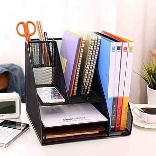 Metalen opbergvak Bureau-organizer met 2 brievenbakken en 5 verticale secties voor het opbergen van mappen. Zwart well