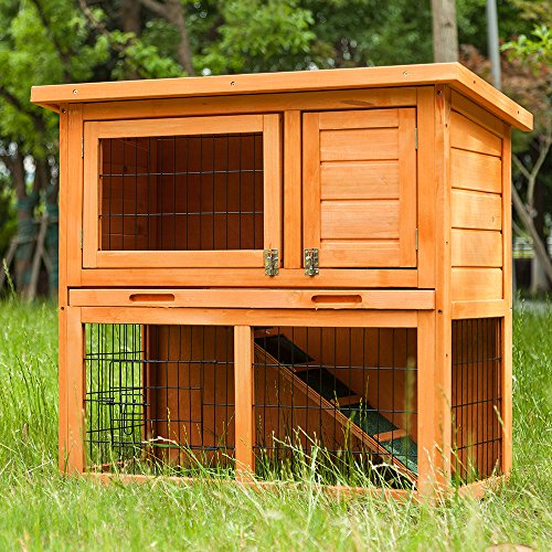 Purlove® Stall für Kaninchen, Meerschweinchen, Hühner, groß, aus Holz