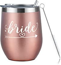 Amzyt Wine Tumbler for Bride, Stainless Steel Stemless Wine Tumbler with Lid-12 Oz Insulated Wine Glass for Married and Bridesmaid Gifts (Rose gold-Bride1)