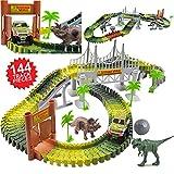 deAO Circuit de Voitures dans Le Parc Jurassique - Monde des Dinosaures - Ensemble avec Voie Souple, Véhicule, Dinosaures et Accessoires