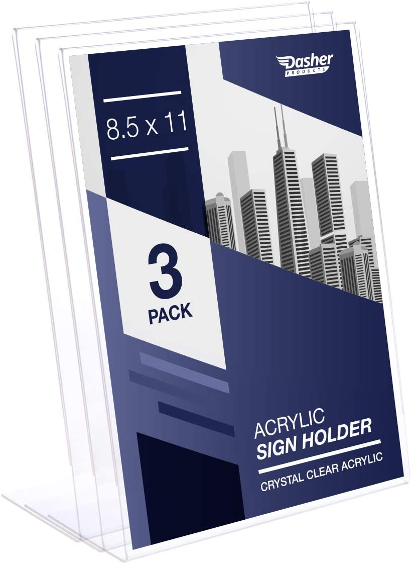 Slant Back Acrylic Sign Holder, 8.5 x 11 Inches Economy Portrait Ad Frames, Perfect for Home, Office, Store, Restaraunt (3 Pack) : Office Products