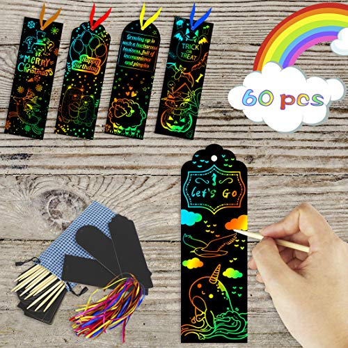 KOMIWOO Scratch Rainbow-Bookmarks 60 Pcs, Magic Scratch Paper Art Bookmarks DIY Gift Tags with Satin Ribbons, Wood Stylus, Rope, Storage Bag for Kids Party and Arts & Craft Activity