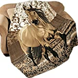 Western Horse Soft Fleece Throw Blanket, 63'x73'