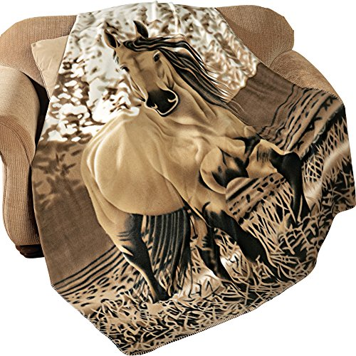 "Western Horse Soft Fleece Throw Blanket, 63""x73"""