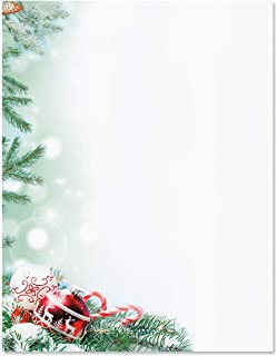 Crystal Pineboughs Christmas Letter Papers - Set of 25, Holiday Stationery Papers, 8 1/2