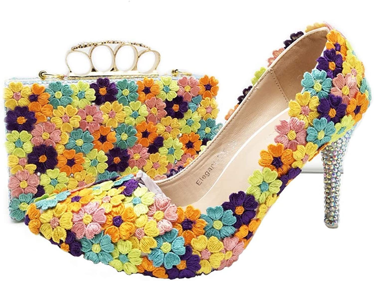 Sparrow Middle Heel Bride Wedding shoes with Purse Multicolor Lace Flower Women Party Prom Pumps with Handbag