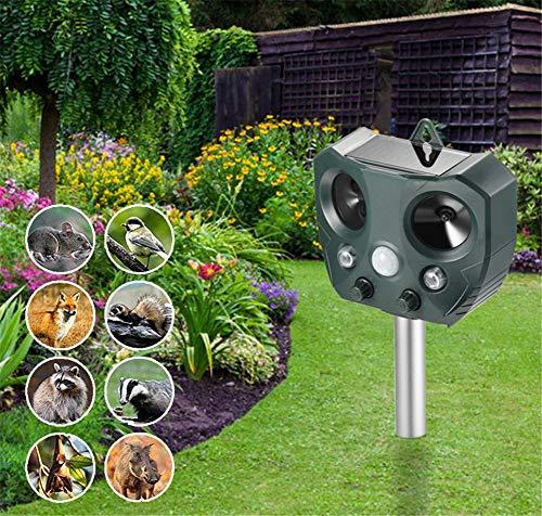 FOOSKOODW Répulsif Chats Ultrasons Repeller Solar Ultraschall Dog Drive Light Flash Tier Drive Sound und Licht für Hunde, Katzen, Füchse, Mäuse, Stinktiere, Eichhörnchen