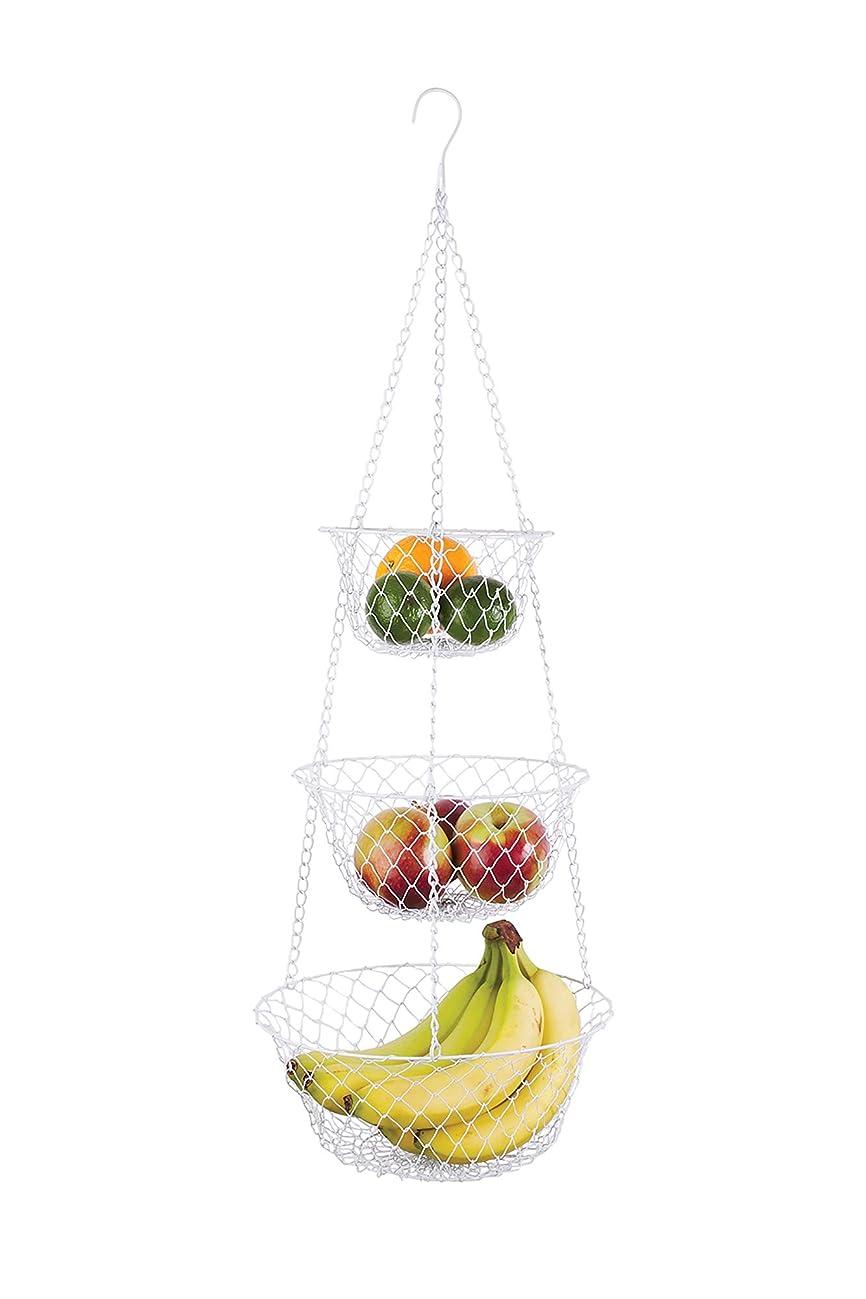 Fox Run 52101 White 3-Tier Kitchen Hanging Fruit Baskets, 32 Inches,