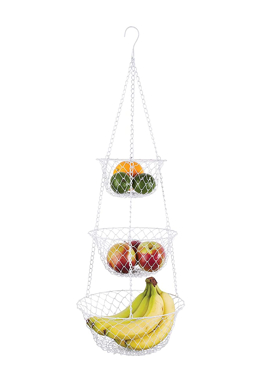 Fox Run Brands 3 Tier Hanging Fruit Vegetable Kitchen Storage Mesh Basket - Various Colors