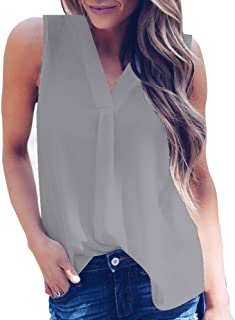 VESKRE Women's Summer Irregular Hem Chiffon Tank Tops Sexy Solid V-Neck Sleeveless