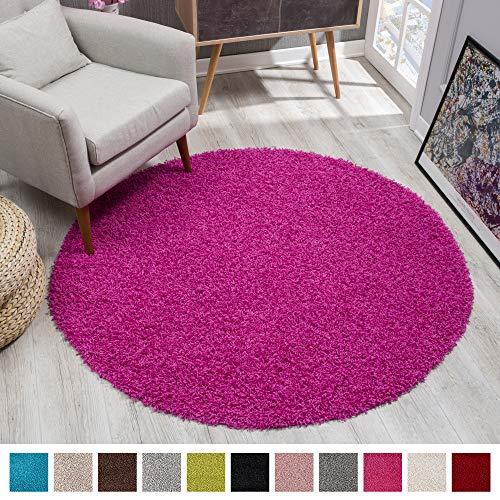 SANAT Teppich Rund - Rosa Hochflor, Langflor Modern Teppiche fürs Wohnzimmer, Schlafzimmer, Esszimmer oder Kinderzimmer, Größe: 120x120 cm
