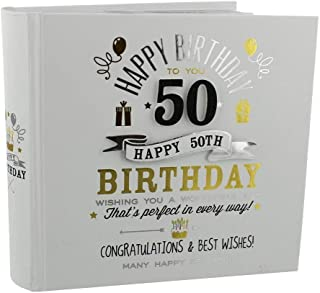 Haysom Interiors Decorative Gold and Silver Happy 50th Birthday Photo Album