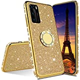COTDINFOR Compatible with Samsung Galaxy S21 Funda Cover Glitter Diamond Bling Fundas Kickstand TPU Anti-Arañazos Suave Silicona Carcasa para Galaxy S21 Case - Gold Glitter KDL.