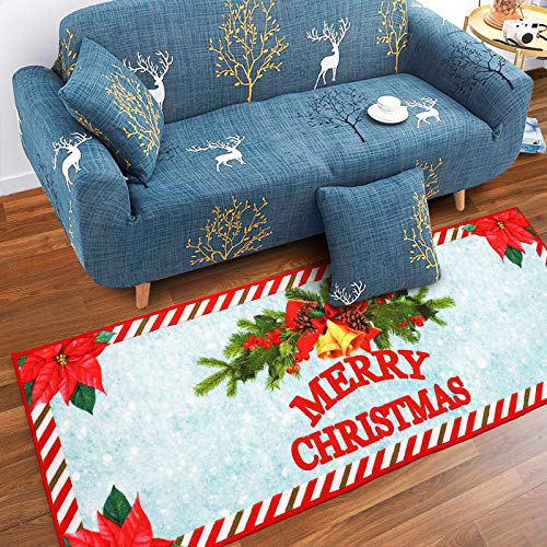 Rostyle Christmas Rugs Poinsettia Flower Christmas Bedroom Rug Non Slip Christmas Doormat Runners Xmas Tree Rug Holiday Decorative Gift for Kids Girls Boys, 2 ft x 6 ft