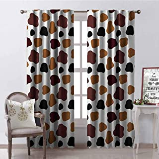 GloriaJohnson Cow Print Shading Insulated Curtain Cow Skin Animal Abstract Spots Milk Dalmatian Barnyard Camouflage Dots Soundproof Shade W42 x L63 Inch White Brown Black