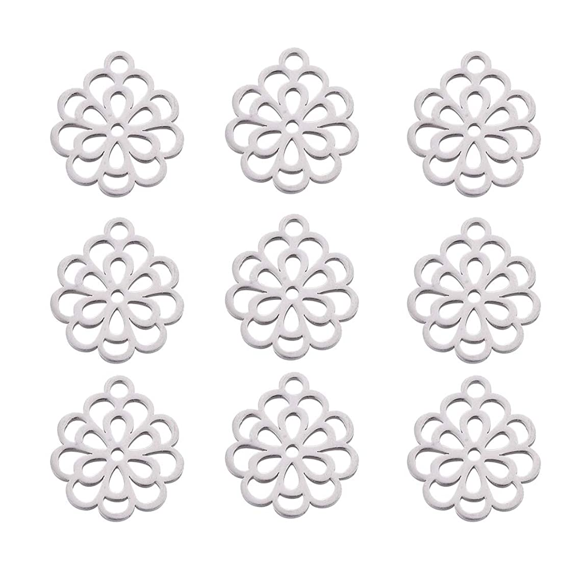 DanLingJewelry 304 Stainless Steel Handmade Charms Flower Leaves Charm Pendants for DIY Crafting Jewelry Findings Jewelry Making Accessory(Stainless Steel Color-10pcs,14.5 x 13 x 1mm, Hole: 1.5mm)