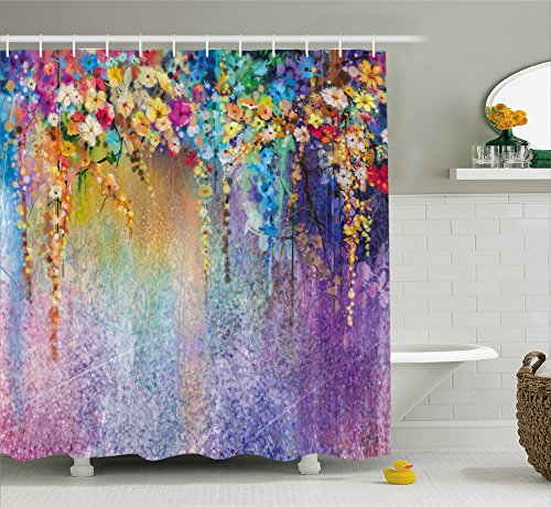 """Ambesonne Flower Shower Curtain, Abstract Herbs Alternative Medicine Blossoms Ivy Back Florets Shrubs Design, Cloth Fabric Bathroom Decor Set with Hooks, 70"""" Long, Multicolor"""