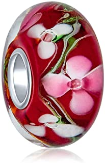 Murano Glass .925 Sterling Silver Core Floral Red and Black Green Pink Hibiscus Flower Spacer Charm Bead Fits European Bra...