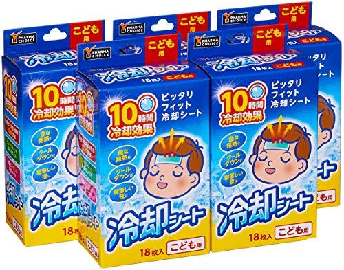 [Amazon限定ブランド] PHARMA CHOICE 冷却シート こども用 18枚入(3枚×6袋)×5箱