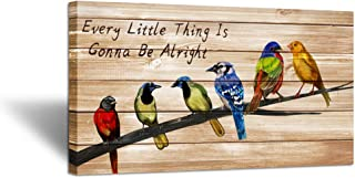 iHAPPYWALL Large Vintage Animal Canvas Wall Art Colorful Birds on Tree Branch Inspirational Quotes Every Little Thing Gonna Be Alright Giclee Print Gallery Wrap for Home Office Decor Ready to Hang