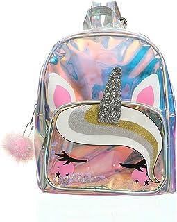 Zaino argento lucido per ragazze Zaino design unicorno Hairball Adorable Bookbag Moda carino Borsa da viaggio per bambini